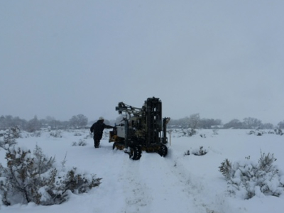 drill rig in snow